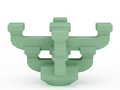 3d綠色<font class='myIsRed'>斗拱</font>模型