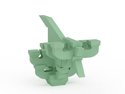 3d綠色<font class='myIsRed'>斗拱</font>免費模型