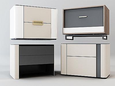 現代床頭柜組合3d模型