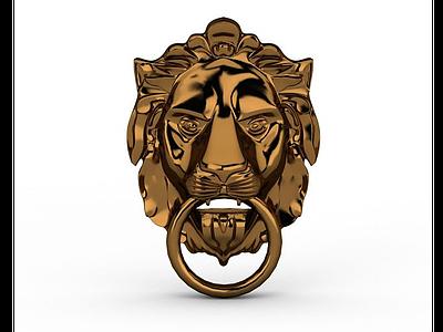 獅子頭像門環模型