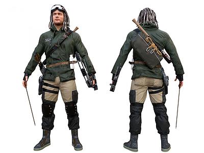 歐美男人弓箭手幸存者模型3d模型