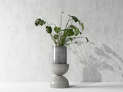 3d現代盆栽景觀模型