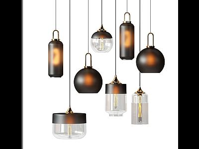 C4D現代簡約玻璃吊燈模型模型