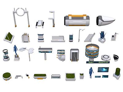 3d未來科幻城市街區設施模型