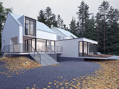 3d現代別墅模型