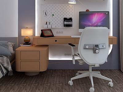 現代簡約書桌模型