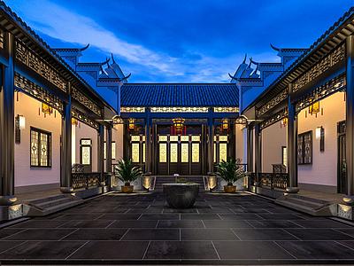 中式庭院模型