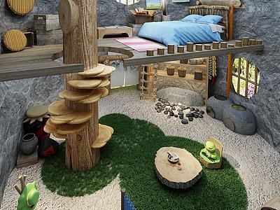 旅行青蛙雙層閣樓住宅模型3d模型