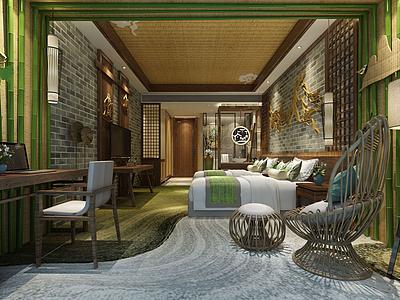 民俗風情酒店客房模型3d模型