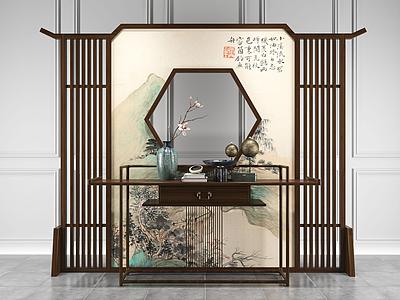 新中式屏風隔斷模型3d模型