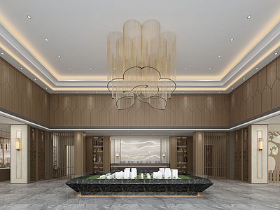 中式售樓部模型3d模型
