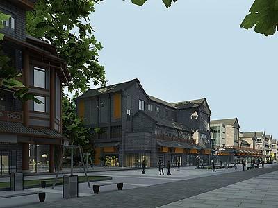 3d古建商業步行街模型