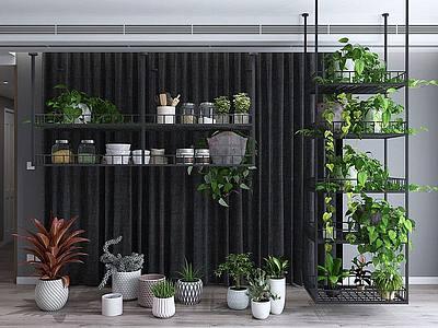 3d綠植盆栽花架組合模型