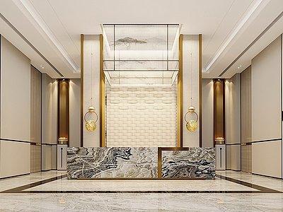 新中式辦公大堂模型3d模型