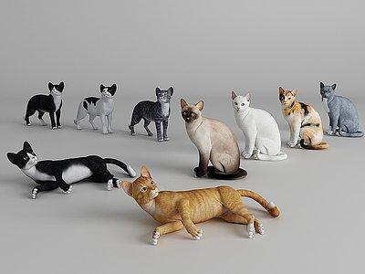 現代風格貓咪模型3d模型