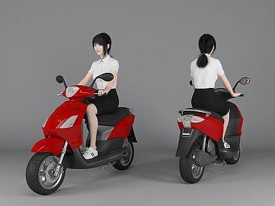3d現代風格騎<font class='myIsRed'>車</font>美女人物模型