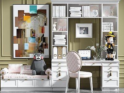 現代辦公書桌椅模型3d模型