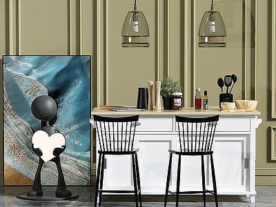 餐廳吧臺組合模型3d模型