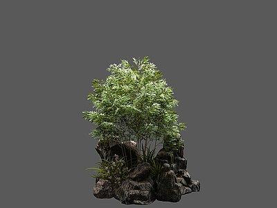 新中式石頭竹子植物組合模型3d模型