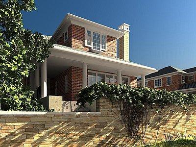現代雙層別墅模型