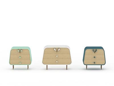 3d創意床頭柜模型