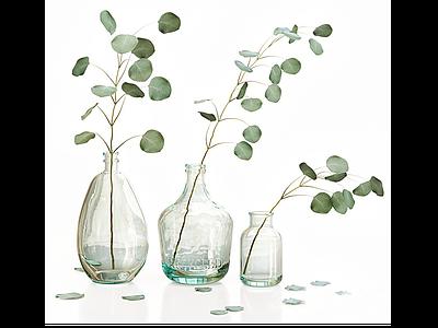 3d花瓶綠植模型
