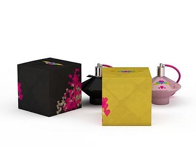 3d瓶裝香水包裝盒免費模型