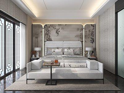 新中式主臥室模型