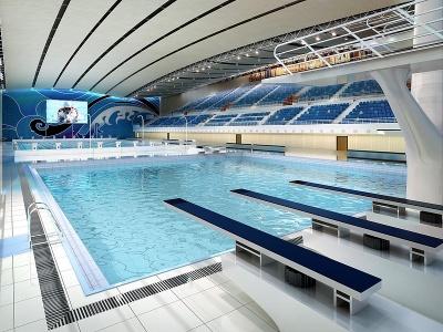 現代游泳館模型3d模型