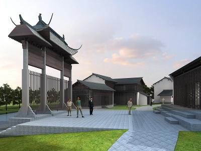 中式文化街模型