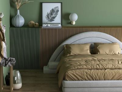 北歐簡約風雙人床臥室模型