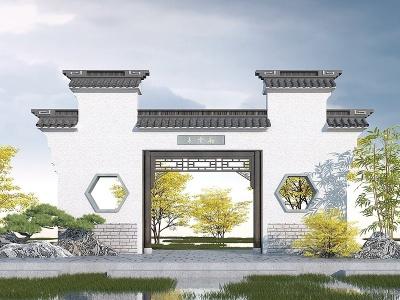 中式園林景觀大門模型3d模型
