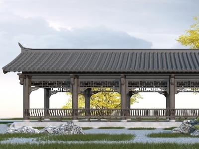 中式長廊模型3d模型