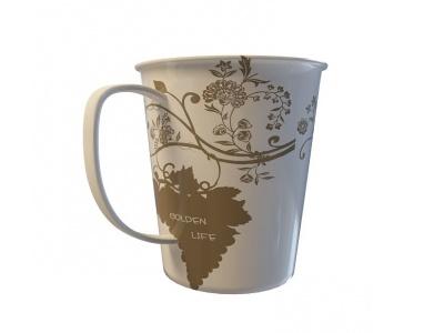 3d花紋陶瓷水杯模型