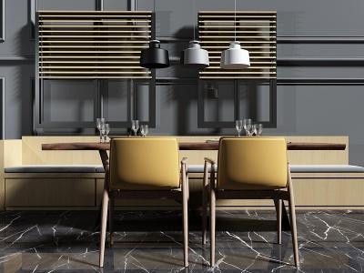 現代餐廳卡座模型3d模型