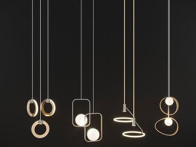 現代線型吊燈模型3d模型