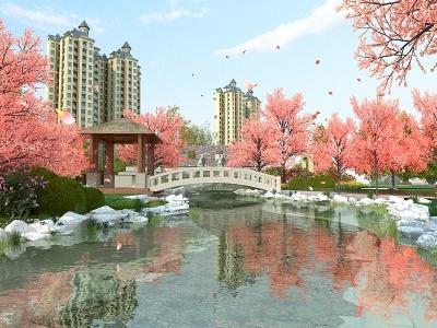 3d現代風格的公園模型