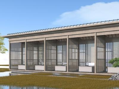 新中式長廊模型3d模型