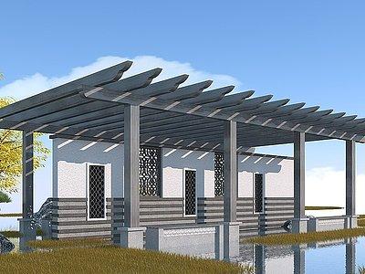 新中式廊架模型3d模型