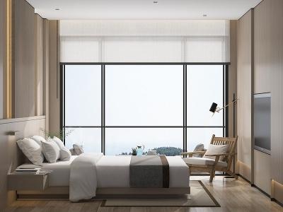 現代酒店客房模型3d模型