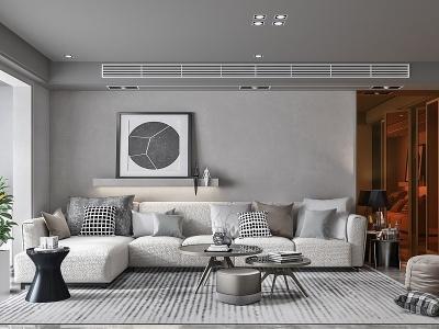 現代客廳沙發茶幾陽臺模型3d模型