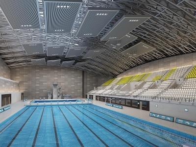現代大型游泳館模型3d模型