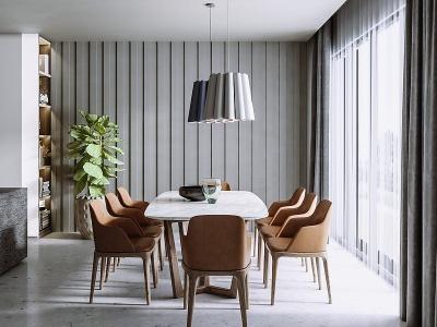 現代餐廳餐桌椅模型3d模型