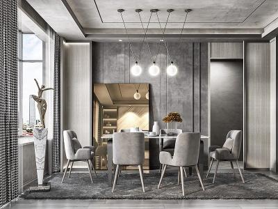 現代灰餐廳沙發茶幾模型3d模型