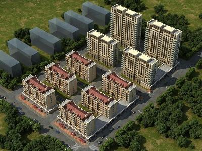 3d鳥瞰住宅區模型
