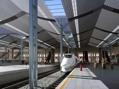 3d<font class='myIsRed'>火車</font>站模型