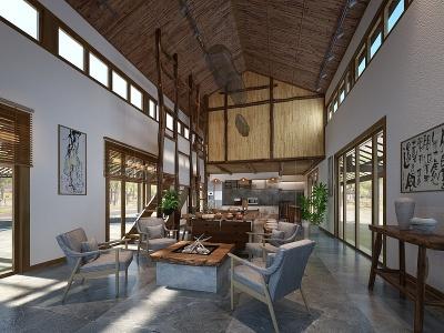 新中式民宿酒店接待區模型3d模型
