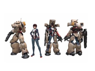 3d游戲美女機器人模型