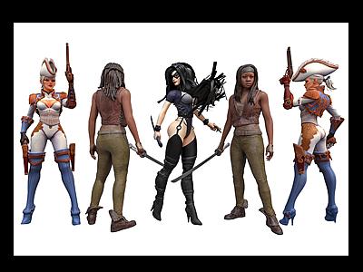 現代游戲美女模型3d模型