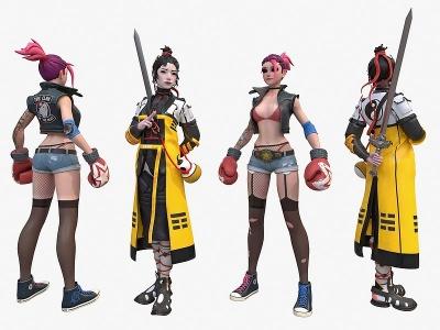 現代游戲拳擊美女模型3d模型